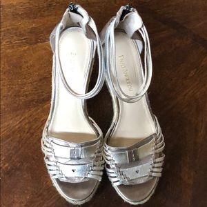 Enzo Angelini silver gold leather espadrille wedge